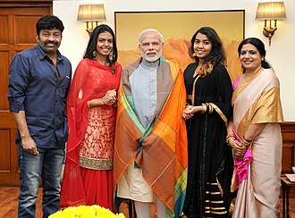 Rajasekhar (actor) - Telugu Film Actors, Smt. Jeevitha and Dr. Rajashekhar along with their two daughters calling on the Prime Minister, Shri Narendra Modi, in New Delhi on October 26, 2015