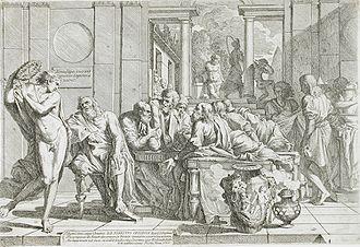 Symposium - Pietro Testa (1611–1650): The Drunken Alcibiades Interrupting the Symposium (1648).
