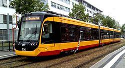 Fahrzeug 326 bei einer Test-/Messfahrt ohne Fahrgäste