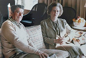Margaret Thatcher with Ronald Reagan at Camp David