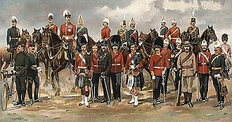 Canadian Armed Forces - Various uniforms of the Canadian militia in 1898. The historical roots of the Canadian Forces stems from the militia.