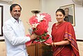 The Chief Minister of Telangana, Shri K. Chandrashekar Rao calls on the Union Minister for Human Resource Development, Smt. Smriti Irani, in New Delhi on September 07, 2014.jpg