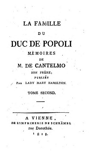 Lady Mary Hamilton - Title Page from an 1818 publication of The Duc de Popoli