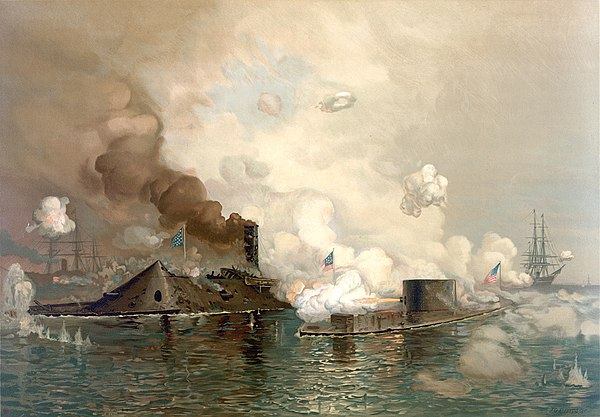 The first battle between ironclads: CSS Virginia (left) vs. USS Monitor, in the March 1862 Battle of Hampton Roads The Monitor and Merrimac.jpg