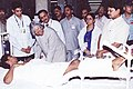The President, Dr. A.P.J. Abdul Kalam with a victim of recent Mumbai bomb blasts in KEM Hospital, Mumbai on July 18, 2006.jpg