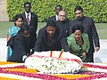 The President of Republic of Benin, Dr. Boni Yayi and his wife Mrs. Chantal de Souza-Yayi laying wreath at the Samadhi of Mahatma Gandhi at Rajghat, in Delhi on March 04, 2009.jpg