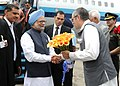 The Prime Minister, Dr. Manmohan Singh being welcomed by the Chief Minister of Jammu & Kashmir, Shri Omar Abdullah, on his arrival at Srinagar Airport, in Jammu & Kashmir on June 07, 2010.jpg