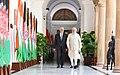 The Prime Minister, Shri Narendra Modi and the President of Afghanistan, Dr. Mohammad Ashraf Ghani, at Hyderabad House, in New Delhi on September 19, 2018.JPG