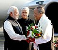 The Prime Minister, Shri Narendra Modi being received by the Governor of Manipur, Shri K.K. Paul and the Chief Minister of Manipur, Shri Okram Ibobi on his arrival, in Imphal on November 30, 2014.jpg