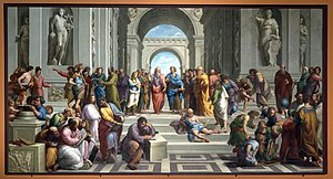 Philosopher - The School of Athens by Raphael depicting the central figures of Plato and Aristotle, and other ancient philosophers exchanging their knowledge.