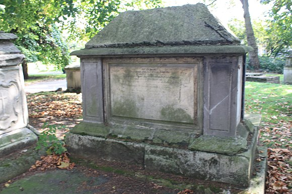The grave of Abraham Woodhead, Old St Pancras Churchyard, London The grave of Abraham Woodhead, Old St Pancras Churchyard, London.JPG
