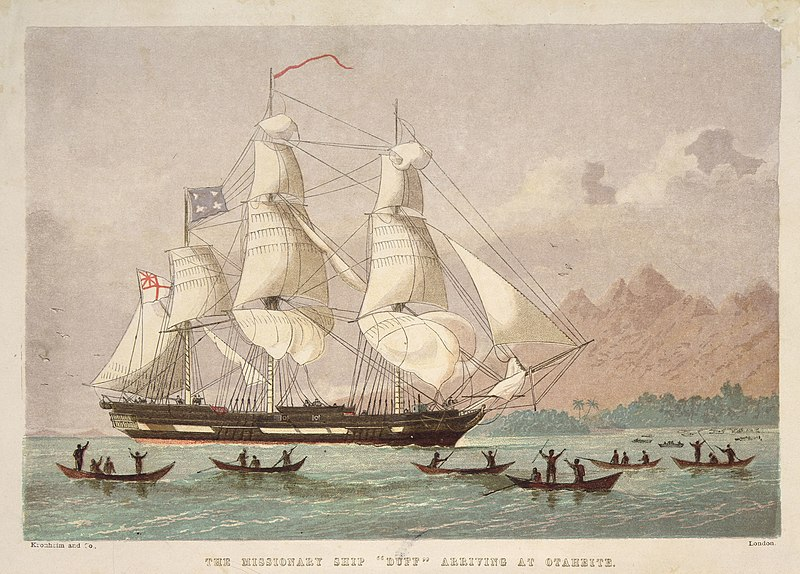 """File:The missionary ship """"Duff"""" arriving (ca. 1797) at Otaheite, lithograph by Kronheim & Co.jpg"""