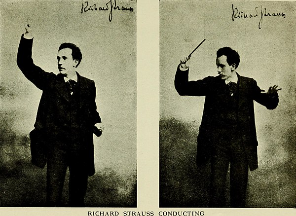 Strauss conducting (circa 1900) The orchestra and its instruments (1917) (14780185164).jpg