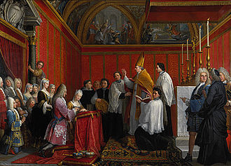 Maria Clementina Sobieska - The solemnisation of the marriage of Prince James Francis Edward Stuart and Princess Maria Clementina Sobieska (Montefiascone 1 September 1719) by Agostino Masucci