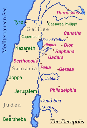 Exorcism of the Gerasene demoniac - Map of Decapolis showing location of Gadara and Gerasa