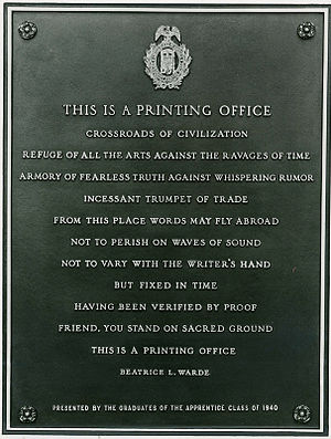 Beatrice Warde - This is a Printing Office at the entrance to the United States Government Printing Office