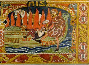 Litr - Thor kicks Litr onto Baldr's burning ship, illustration by Emil Doepler (ca. 1905)