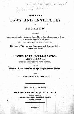 Thorpe, Benjamin – Ancient laws and institutes of England, 1840 – BEIC 13760904.jpg