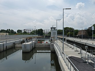 Bow Back Rivers - The sluices at Three Mills Lock, with the lock structure to the right