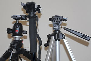 Tripod head - Left-to-right: Ball head, one-way tilt head and three-way tilt head