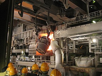 Basic oxygen steelmaking - Oxygen converter being charged at ThyssenKrupp steel mill in Duisburg
