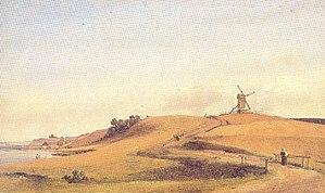 Tibberup Windmill - Tibberup Stub Mill painted by Vilhelm Petersen in 1854