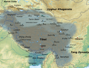 Tibetan Empire - Map of the Tibetan empire at its greatest extent between the 780s and the 790s