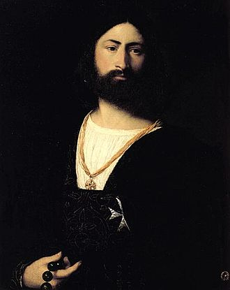 A Man with a Quilted Sleeve - Titian, portrait of an unknown Knight of Malta, c. 1508, Uffizi