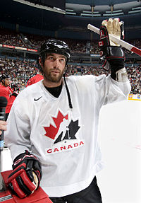 Todd Bertuzzi on the ice, waving to the crowd as a Team Canada team member.