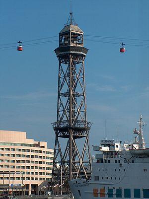 Port Vell Aerial Tramway - Port Vell Aerial Tramway; cabins leaving Torre Jaume I