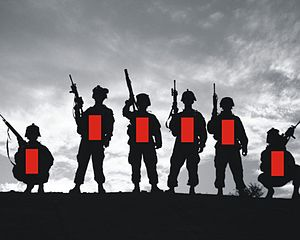 Point-blank range - Torso Lethal Shot Placement rectangles of 450 × 225 mm (17.7 × 8.85 in) superimposed over silhouetted soldiers.