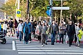 Tourists Walking across Songshou Road, Xinyi District, Taipei 20150216.jpg