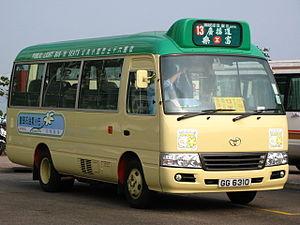 Minibus -  Toyota LPG Coaster  green public minibus in Hong Kong