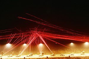 Tracer fire lights up the night sky as Marine ...
