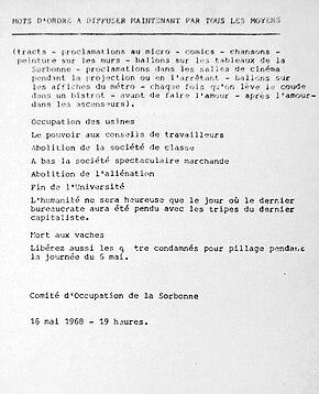 Panfleto delCMDOde la Sorbonne del 16 de mayo de 1968.