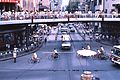 Traffic circle with pedestrian overcrossing, China, 1987.jpg