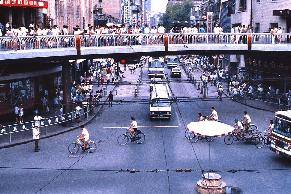 Traffic circle with pedestrian overcrossing, China, 1987