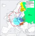 Trajet des volontaires hongrois vers la Finlande durant la guerre d'Hiver.png