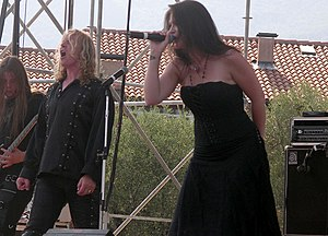 Tristania (band) - Vibeke Stene and Østen Bergøy during a concert at the Evolution Festival, 2006.
