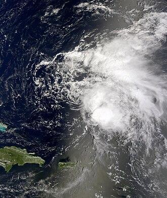 2010 Atlantic hurricane season - Image: Tropical Storm Colin August 5 1505UTC