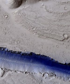 Athabasca Valles - Image: Troughs showing blue in Elysium Planitia