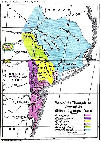 Tsonga people - Traditional location of Tsonga people with dialectical differences and before the borders between South Africa, Swaziland, Mozambique and Zimbabwe were erected and the people separated.