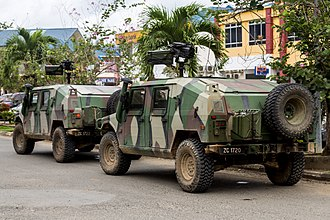 2013 Lahad Datu standoff - The presence of additional Malaysian Army armoured vehicles such as URO VAMTAC in a town near the conflict area five months later to increase the security in eastern Sabah.