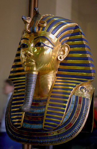The golden funerary mask of Tutankhamun, Egyptian Museum of Cairo Tutanchamon (js) 1.jpg