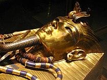 Mask on Tutankhamun's innermost coffin