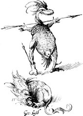At the top, a humanoid creature with the head and lower torso of a duck stands, holding a spear with its humanoid hands attached to a scaly tortoise-like upper body. At the bottom, a creature, with a parrot-like head and a lion's torso, lies on the ground, bellowing.