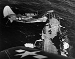 Two SBC2C-3 over USS Hornet (CV-12).jpg