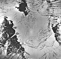 Tyeen Glacier, mountain glacier with landslides or avalanches remnents on top of the glacier, September 17, 1966 (GLACIERS 5928).jpg