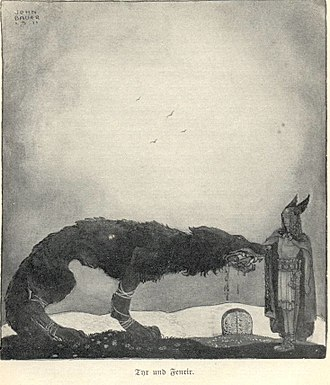 Týr - Týr sacrifices his arm to Fenrir in a 1911 illustration by John Bauer.
