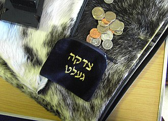 Alms - Tzedakah pouch and gelt (Yiddish for coins/money) on fur-like padding.